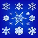 Fiocchi di neve e stelle Fotografia Stock