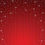 Fiocchi di neve e stelle che discendono colore rosso Immagini Stock