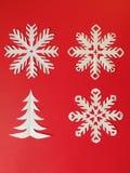 Fiocchi di neve ed albero di fuoco Fotografia Stock Libera da Diritti