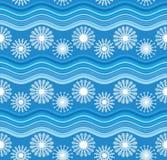 Fiocchi di neve ed onde bianchi del blu illustrazione vettoriale
