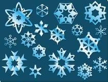 Fiocchi di neve geometrici di vettore blu ghiacciato Immagini Stock