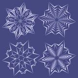 Fiocchi di neve messi per progettazione di inverno di natale Fotografie Stock