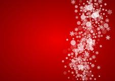 Fiocchi di neve di natale su priorità bassa rossa Fotografie Stock