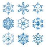 Fiocchi di neve originali impostati Immagini Stock Libere da Diritti