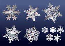 Fiocchi di neve reali Immagini Stock Libere da Diritti
