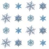 Fiocchi di neve reali isolati su fondo bianco Fotografie Stock Libere da Diritti