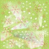 Fiocchi di neve rossi e bianchi di inverno, di Natale, di natale, su fondo verde chiaro Immagine Stock