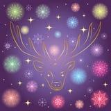 Fiocchi di neve Shinning variopinti e stelle dorate Siluetta dorata disegnata a mano della renna su cielo notturno Perfezioni per Fotografie Stock Libere da Diritti