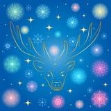 Fiocchi di neve Shinning variopinti e stelle dorate Siluetta dorata disegnata a mano della renna su fondo blu Immagine Stock Libera da Diritti