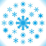Fiocchi di neve - un insieme di 25 pezzi. Fotografie Stock