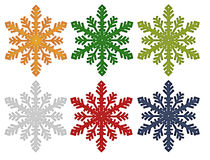 Fiocchi di neve variopinti Fotografie Stock Libere da Diritti