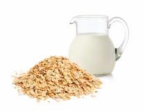 Fiocchi e latte dell'avena Fotografie Stock Libere da Diritti