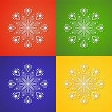 Fiocco di neve bianco sugli ambiti di provenienza differenti Illustrazione Vettoriale