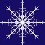 Fiocco di neve bianco di vettore su fondo blu illustrazione di stock