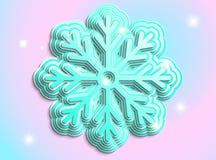 Fiocco di neve blu su un fiocco di neve Fotografie Stock