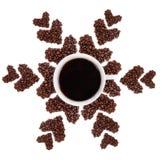 Fiocco di neve dai chicchi di caffè Fotografie Stock