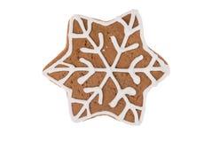 Fiocco di neve del pan di zenzero di Natale isolato su un fondo bianco Immagini Stock Libere da Diritti