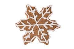 Fiocco di neve del pan di zenzero di Natale isolato su un fondo bianco Fotografie Stock Libere da Diritti