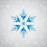 Fiocco di neve di Natale delle forme geometriche Segno del fiocco di neve blu Nuovo anno, illustrazione della cartolina di Natale Immagine Stock Libera da Diritti