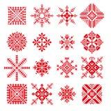 Fiocco di neve di vettore nello stile del Russo del ricamo Fotografia Stock Libera da Diritti
