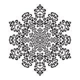 Fiocco di neve disegnato a mano di scarabocchi Stile della mandala di Zentangle Fotografie Stock Libere da Diritti