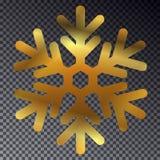 Fiocco di neve dorato di lustro isolato su fondo trasparente Fotografia Stock Libera da Diritti