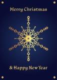 Fiocco di neve dorato elegante su un fondo blu profondo, cartolina di Natale Fotografia Stock