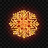 Fiocco di neve dorato di lustro Immagini Stock
