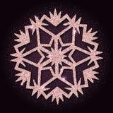 Fiocco di neve grazioso di scintillio dorato rosa Immagine Stock