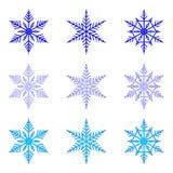 Fiocco di neve: insieme di vettore dei fiocchi di neve su fondo bianco Immagini Stock Libere da Diritti
