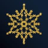 Fiocco di neve interessante di scintillio dorato Fotografia Stock