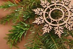 Fiocco di neve di legno sul ramo del pino su fondo beige Fotografia Stock Libera da Diritti