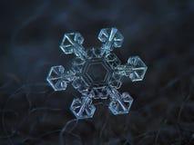 Fiocco di neve reale che emette luce sul fondo strutturato scuro fotografia stock