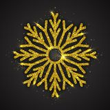 Fiocco di neve scintillante dorato di vettore Fotografie Stock