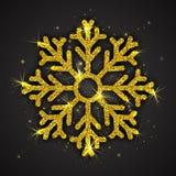 Fiocco di neve scintillante dorato di vettore Fotografia Stock Libera da Diritti