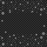 Fiocco di neve trasparente Particelle scintillanti brillanti bianche della traccia della polvere della neve, fondo di vettore di  fotografie stock