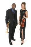 fiol för musikertrumpet två Royaltyfri Fotografi