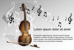 Fiol- och musikanmärkningar på vit Arkivbild