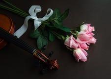 Fiol och rosor Arkivfoto