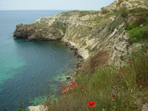 Fiolent bay, Crimea. Ukraine. Amazing colours of the water, great beach Royalty Free Stock Photos