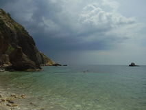 Fiolent bay. Sevastopol, Crimea. Best beach on the south seaside. Sand and pebble Stock Images