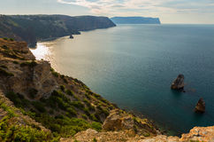 Fiolent cape. Sunny view of the Black Sea. Royalty Free Stock Photos