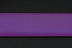 Fioletstreep op zwarte achtergrond Riem van huid of leer Riem in fioletkleur Stock Afbeelding