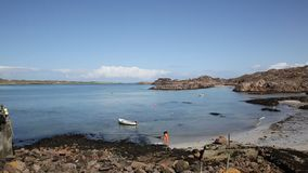 Fionnphort beach Isle of Mull Scotland UK near Iona island pan stock footage