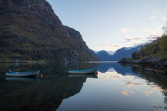 The fiord of Aurland, Flam, Norway. The picturesque Aurlandsfjorden with reflections, Flam, Norway Royalty Free Stock Image