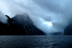 Fiord Milford Sound at sunset and with clouds, South Island, New Zealand Stock Photography