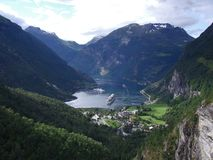 Fiord in norway. Panorama of a fiord in norway stock photos