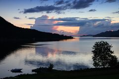 Fiord sunset in Norway Royalty Free Stock Photos