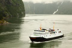 Fiord with white passenger liner Royalty Free Stock Photo