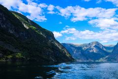 Fiorde norueguês no verão fotografia de stock